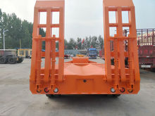 Extendable 3 axle 30ton 45ton 50ton excavator lowboy semi trailer with ramps