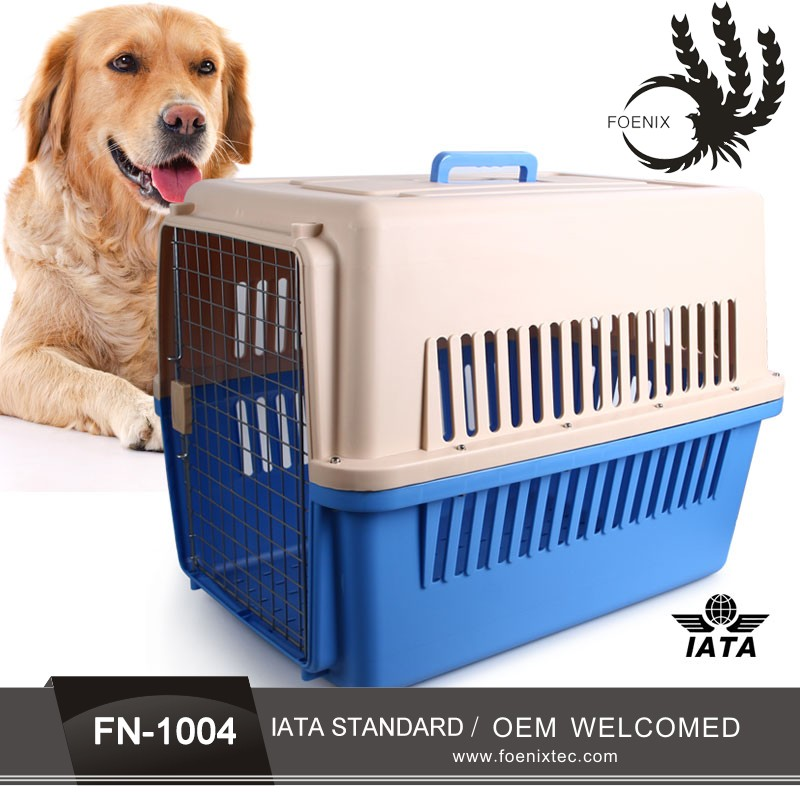 Plastic pet airline cage pet trolley with wheels pet transport carrier