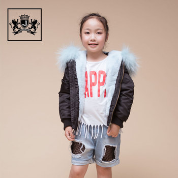 2017 Winter Children Style Faux fur Lined Flight Jackets Raccoon Fur Hooded Coat Kids Bomber Jacket