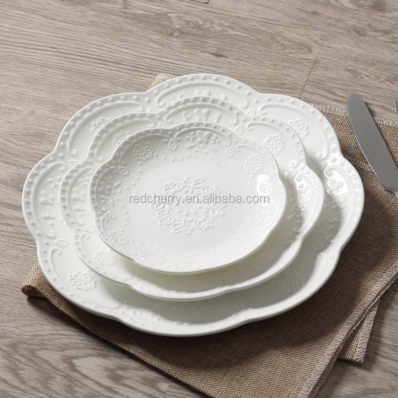 "European style Palace round dessert dish snack plate pure white palace ceramic plate 6"" 8"" 10"""