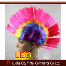 2015 New Fashion Rainbow Mohawk Wigs/Mohawk Wigs With Led/Mohawk Party Wigs With Led Light
