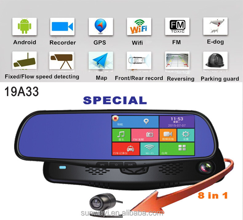 Android 5.0'' Camera Recorder GPS Bluetooth Detector WIFI Rearview Mirror dvr with bracket