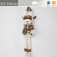 hot sale xmas product 21inch decorative wearing boots mittens scarf snowman doll shape fabric christmas door hanger craft indoor