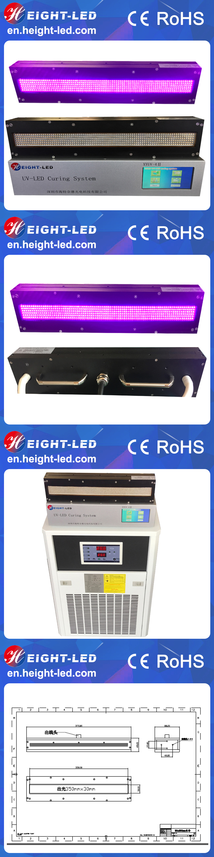 High power factoy price 365nm 395nm 405nm uv led curing system for printing