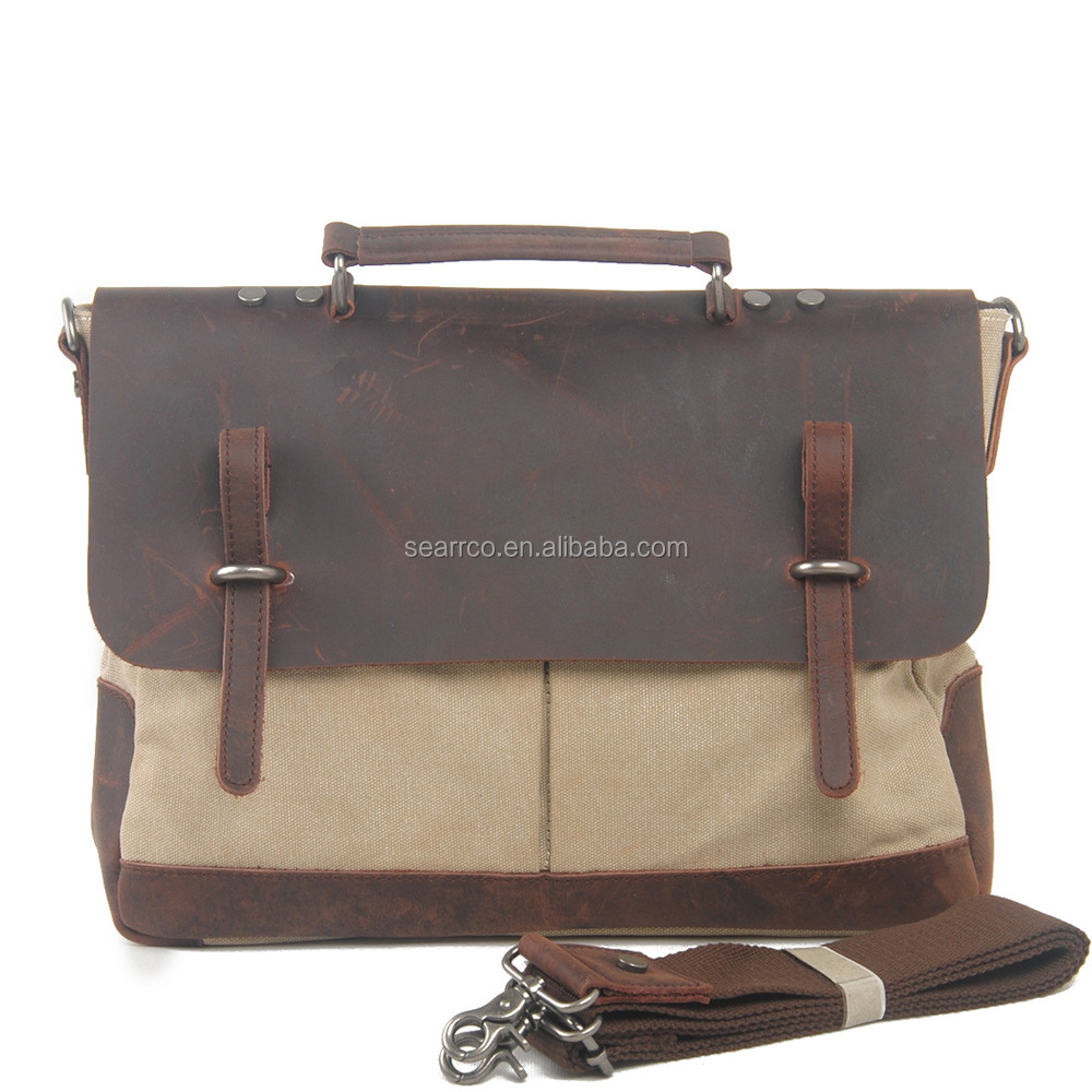Waxed Leather Mexican Vintage Shoulder Laptop Bag Man Messenger Bags for men