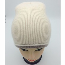 Ribbed angora blend wool plain fox fur beanie hat