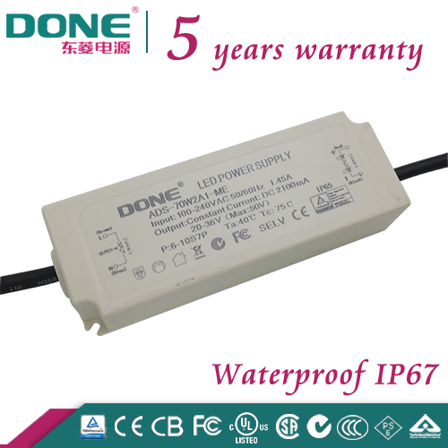 C-tick, CE, CB, TUV 5 Year Warranty 70W 2100ma Waterproof IP67 LED Driver used for all kind of LED light at Outdoor