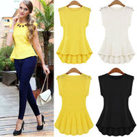Women's Vintage Lace Peplum Frill Bodycon Casual Party Tank Shirt Tops Blouse T-shirt plus size SV000389