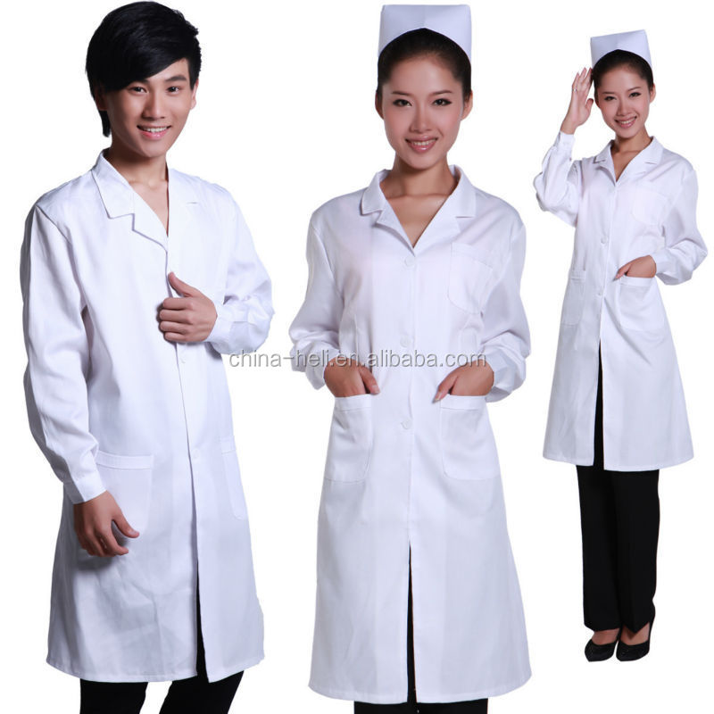 ISO quality nurse uniform white dress with long sleeves