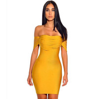 2018 Chic Yellow Off the Shoulder Casual Celebrity Evening Party Bodycon Vestidos Women Bandage Dresses