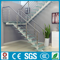 indoor straight glass stair with steel single stringer
