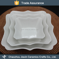 AB grade various size flower shape ceramic wave white soup plate