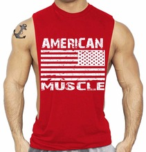 SQUAREGYM Star And Strip American Muscle Sleeveless Large Armhole T Shirt Bodybuilding Wear GYM Summer Clothes OEM