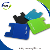 Promotional gift custom 3m sticky cell phone card holder,silicone mobile smart pocket