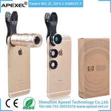 APEXEL 4 in 1 Lens Wide Angle+Macro+Fisheye+Zoom Telescope Mobile Phone Camera Lens for iPhone 7 & 7 Plus Smartphone