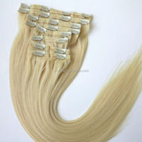 "120g 22"" Color 60 Light Ash Blonde 10pieces/set Double Drawn Thickness Triple Weft cheap 100% human hair clip in hair extension"