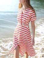 Day Dresses Boutique fashion women girl clothes Red White V Neck Short Sleeve Polka Dot Drawstring Dress