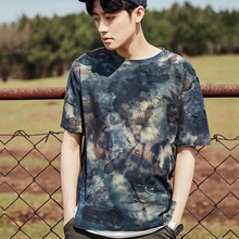 New design fake two pieces men's tie dye t-shirts wholesale from China manufactor