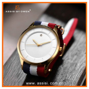 2015 Hot best luxury stainles steel slim quartz watches for boys nylon band