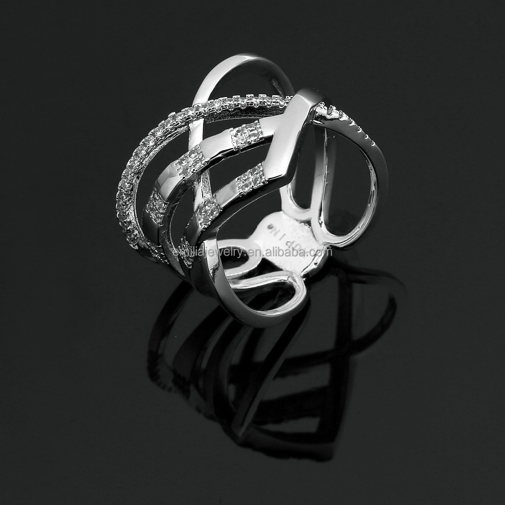 new product silvery white ring designs for ladies