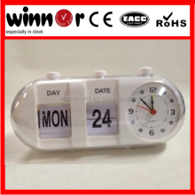 Plastic day date flip clock calendar clock table alarm flip clock