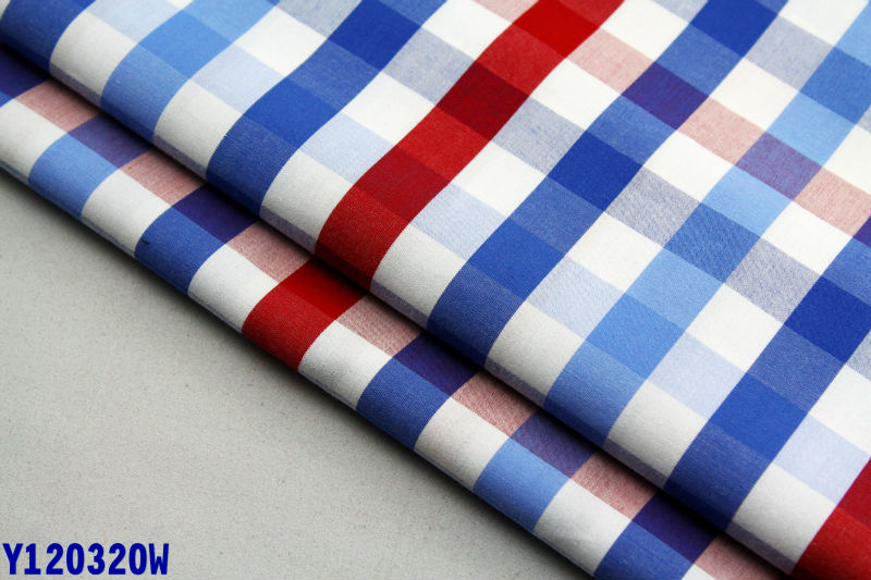 China textile 60s cotton check woven in mercerized finsihing