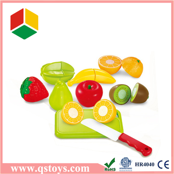 Plastic fruit and vegetable kitchen toy set with EN71