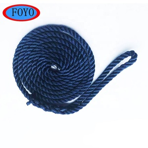 China marine hardware boat twisted polypropylene blue double braided mooring rope with splice