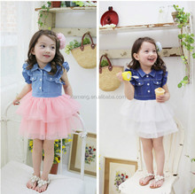 2016 pink and white color one pcs girl party wear dress girl dress of 7 9 10 year old