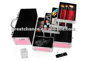 Pink aluminum train case with shoulder strap(XY-287)