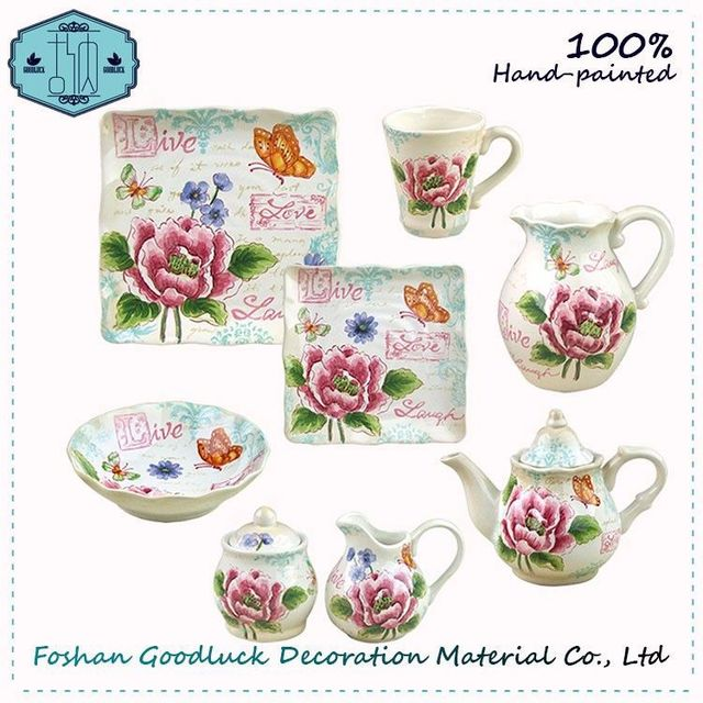 Famous Hand Drawing Peony Pattern Red Ceramic Online Crockery Set