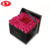 Black flower box cardboard square shape with lid and logo stamping