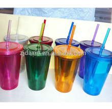 Disposable Colorful Plastic Coffee Tumbler With Lids And Straws