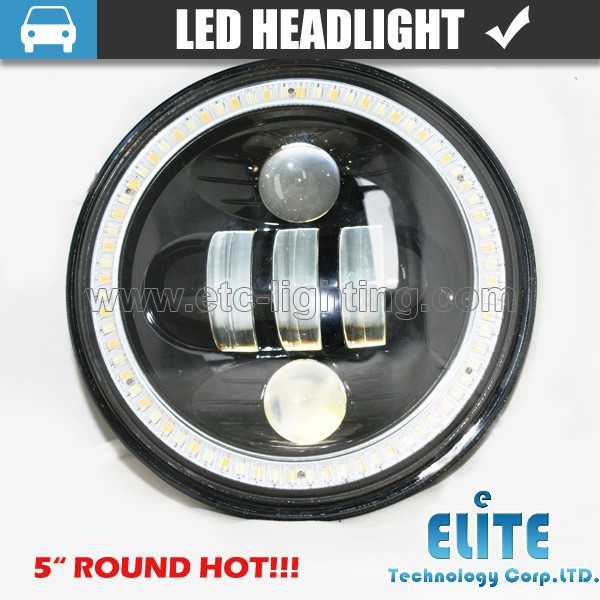 "Black 5"" 3/4"" Round Motorcycle LED Headlight off road led lights 5.75''"