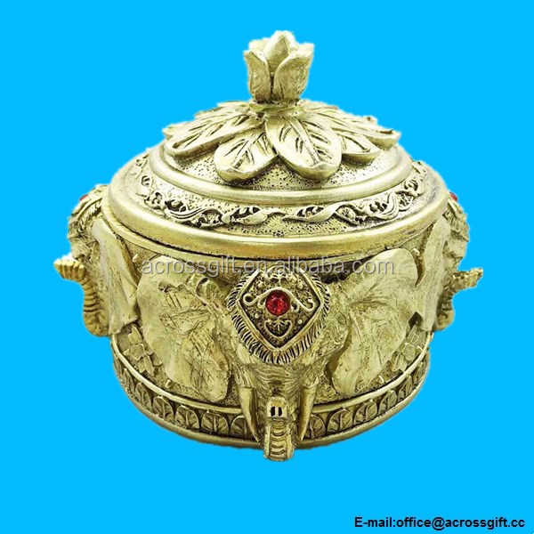 Thai Buddhism Noble Golden Elephant Round Pot Jewelry Box Figurine Sculpture