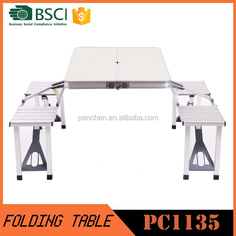 Outdoor case folding picnic table and chairs