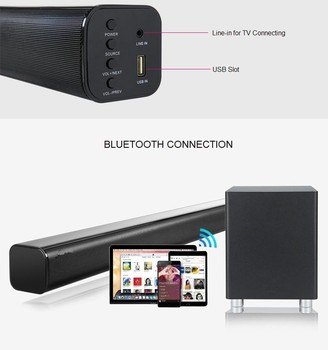 2.1 Bltetooth Home Theater soundbar with 5 inch Wireless Subwoofer with optical input