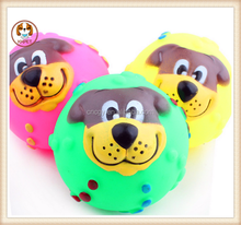 pet toys Hot Sound dog face ball toys High quality rubber Dog's favorite sound Happy to play Color Random