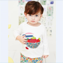 Children Baby Plain Long Sleeve Cotton Fruit White T-shirts Kids Girls Tops