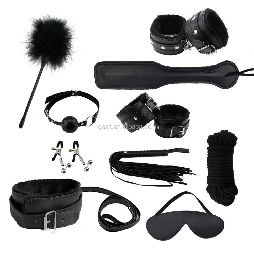 GESS 10pcs BDSM Bondage Restraints Set Kit Ball Gag Cuff Whip Collar Fetish Sex toy