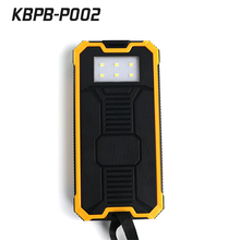 Large capacity 12000 mAh solar portable powerbank emergency battery charger with LED light