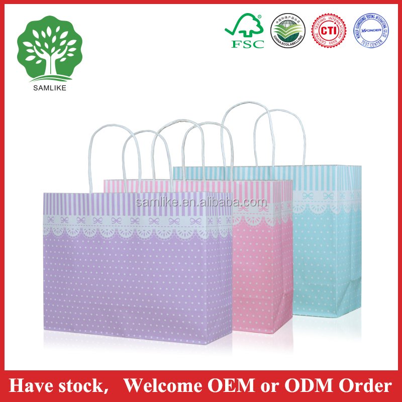newest HOT SALES Economic dot fashion White Kraft Paper Shopping Bag with Handle