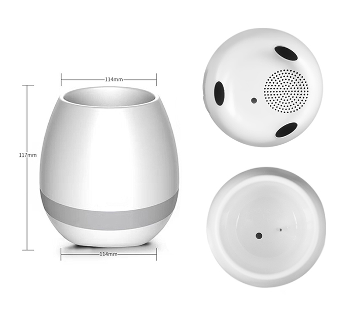 2017 Nuevo Smart LED maceta luz música Bluetooth altavoz, planta lámpara táctil con LED Altavoz Bluetooth