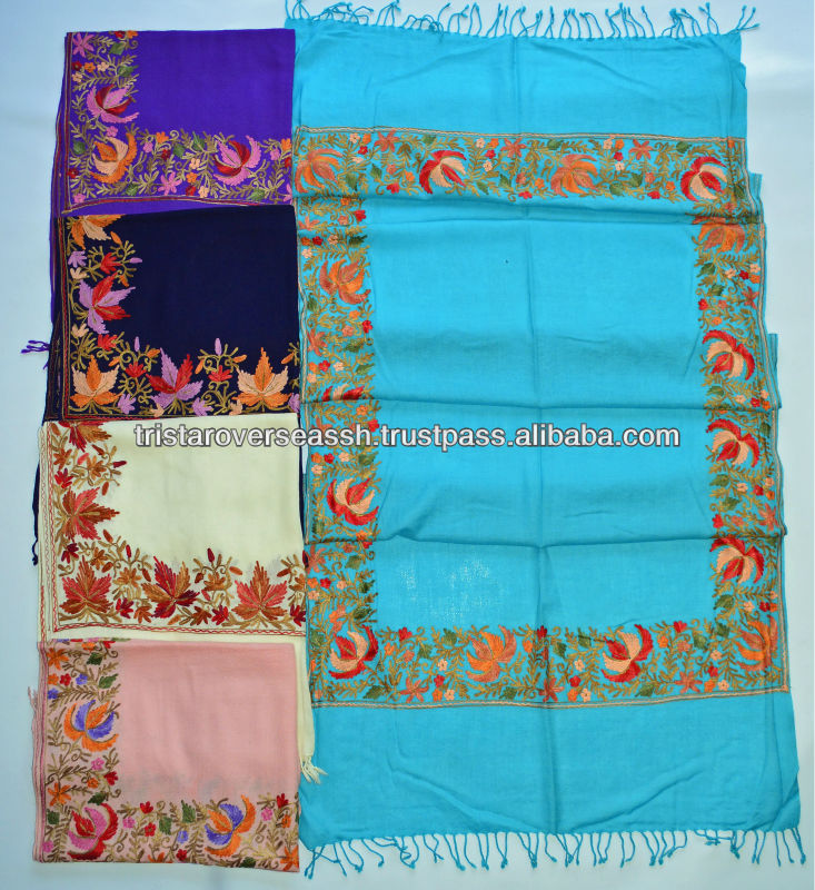 Assorted embroidery work wool shawl/stole, buy directly from exporter manufacturer