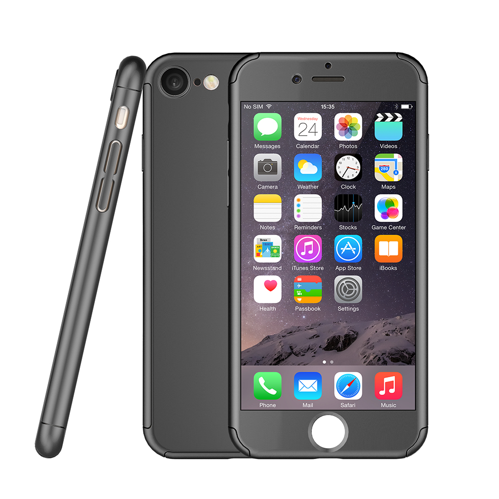 Hard slim ultra thin full body coverage protective phone 360 degree case cover tempered glass for iphone 7