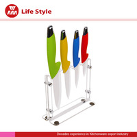 Hot selling 4pcs ceramic knife set with Acrylic stand