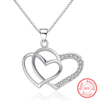 CYA036 Top Design Love heart link necklace without chains,Factory outlet Anillo de plata esterlina Silver bijoux Pendant
