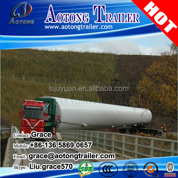 60 tons- 80t wind blade hydraulic directional steering lowbed trailer special semi trailer with heavy cargo