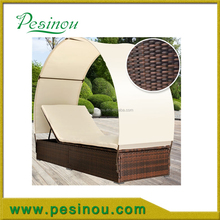PE Rattan Wicker outdoor chaise lounge with canopy