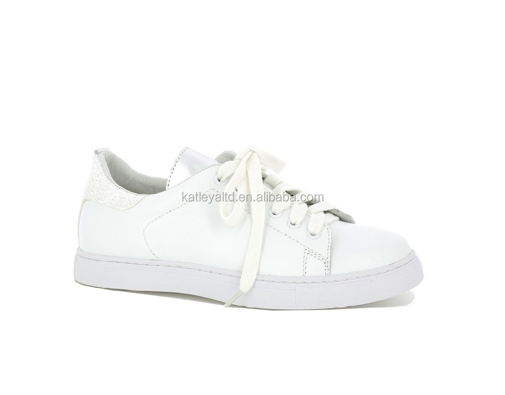 Fancy white Leather trim with Glitter Sneaker with cotton shoes lace for woman